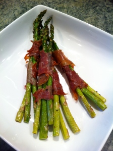 roasted prosciutto wrapped asparagus